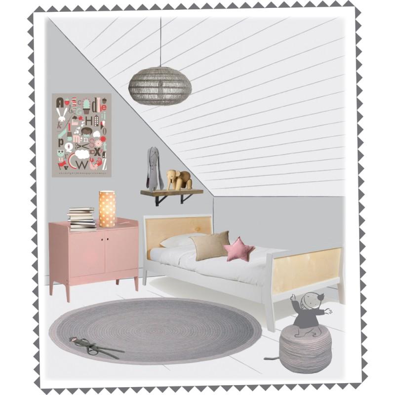 runder kinderteppich in grau tapis halo 100 wolle 90. Black Bedroom Furniture Sets. Home Design Ideas