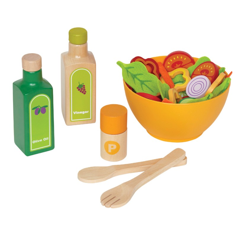 Kinderk chen zubeh r salat set aus holz und filz 36 for Cuisine hape