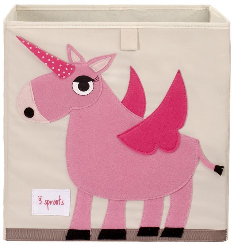 Aufbewahrung im Kinderzimmer mit Spielzeugbox Einhorn, rosa, 33 x 33x ...