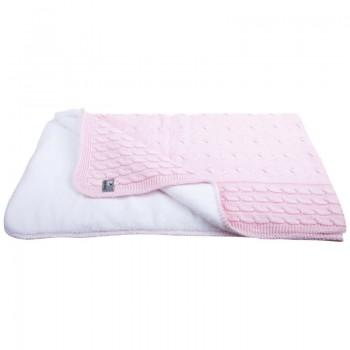 Kuscheldecke Für Baby : kuscheldecke f r kinder mit zopfmuster rosa gestrickte baumwolle mit teddyfutter 135 x 100 cm ~ Markanthonyermac.com Haus und Dekorationen