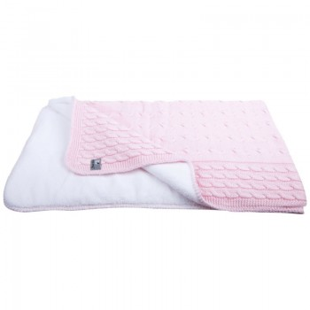 kuscheldecke f r kinder mit zopfmuster rosa gestrickte. Black Bedroom Furniture Sets. Home Design Ideas