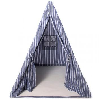 tolles wigwam indianerzelt aus stoff blau gestreift 180 cm hoch von win green. Black Bedroom Furniture Sets. Home Design Ideas