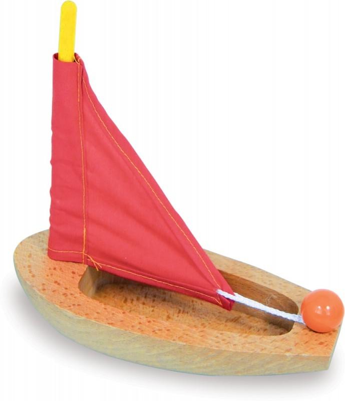 spielzeug f r draussen kleines segelboot aus holz gelb rot oder blau 17 cm vilac. Black Bedroom Furniture Sets. Home Design Ideas