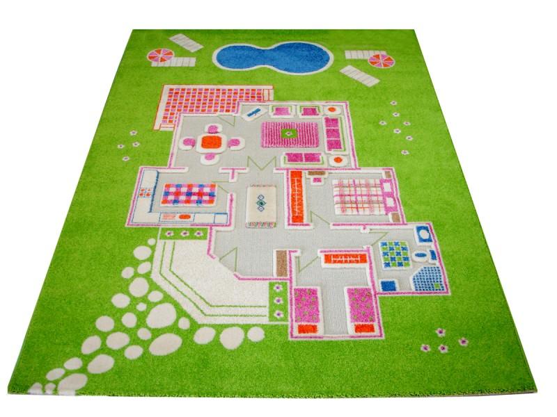 design spielteppich und kinderteppich puppenhaus villa mit. Black Bedroom Furniture Sets. Home Design Ideas