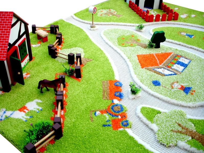 wundersch ner 3d spielteppich und kinderteppich bauernhof und landschaft in 3 gr en erh ltlich. Black Bedroom Furniture Sets. Home Design Ideas