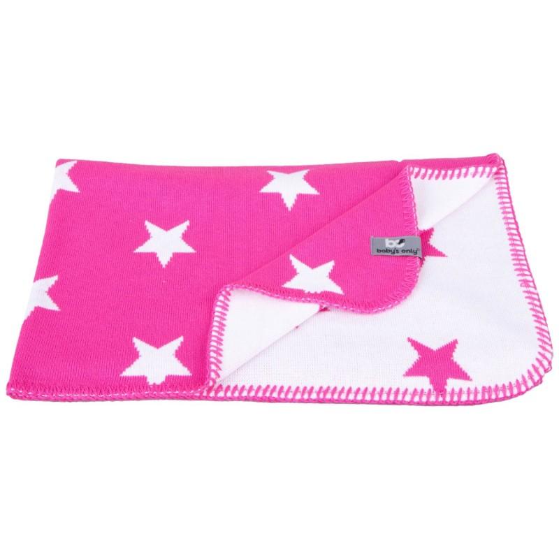 kuscheldecke f r kinder sterne pink weiss gestrickte baumwolle 135 x 100 cm von baby 39 s only. Black Bedroom Furniture Sets. Home Design Ideas