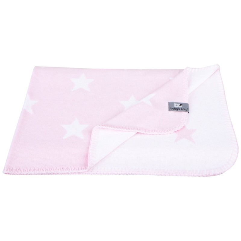 babydecke sterne rosa weiss gestrickte baumwolle 90 x. Black Bedroom Furniture Sets. Home Design Ideas