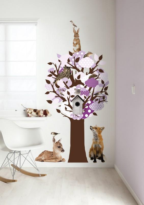 Baum wandsticker mit waldtieren lila braun 150 x 95 cm - Wandsticker name ...
