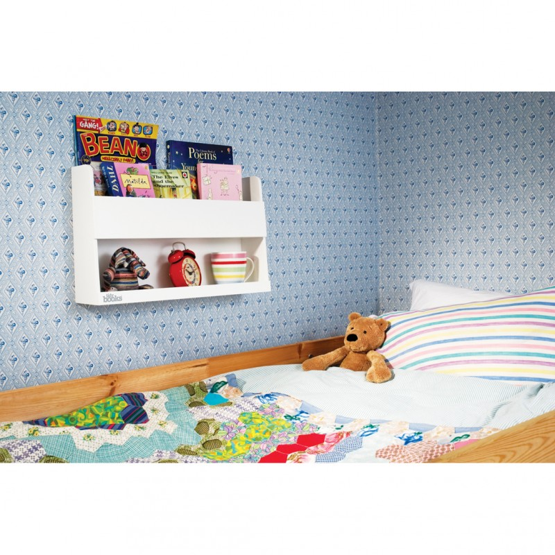 aufbewahrung im kinderzimmer wandregal f rs hochbett als nachttisch ersatz weiss aus holz. Black Bedroom Furniture Sets. Home Design Ideas