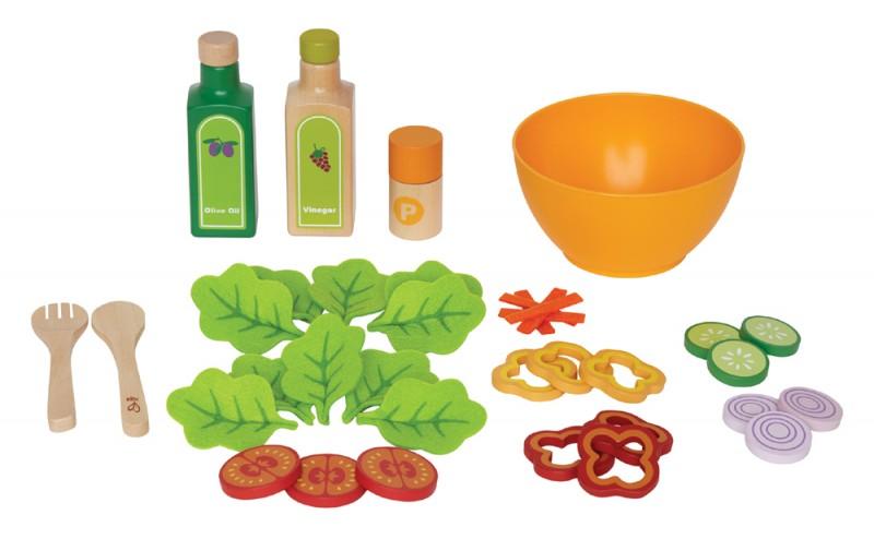 kinderk chen zubeh r salat set aus holz und filz 36. Black Bedroom Furniture Sets. Home Design Ideas