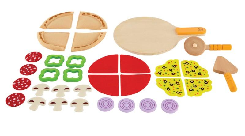 kinderk chen zubeh r pizza set aus holz und stoff 31. Black Bedroom Furniture Sets. Home Design Ideas