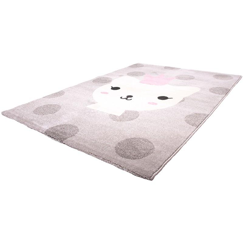 bezaubernder kinderteppich katze lola polka rosa grau 100 polypropylen kotex 100. Black Bedroom Furniture Sets. Home Design Ideas