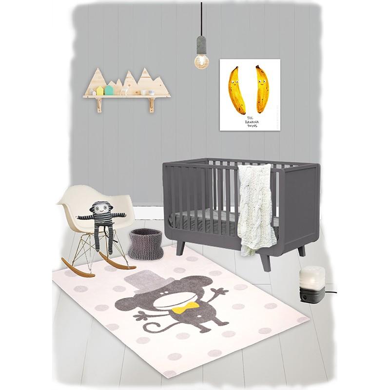 frecher kinderteppich affe polka monkey beige grau 100 polypropylen kotex 100 zertifiziert. Black Bedroom Furniture Sets. Home Design Ideas