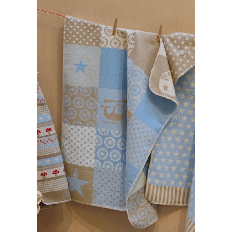 Babydecke aus Baumwolle, gemustert, beige/hellblau, 70 x 90 cm, von ...