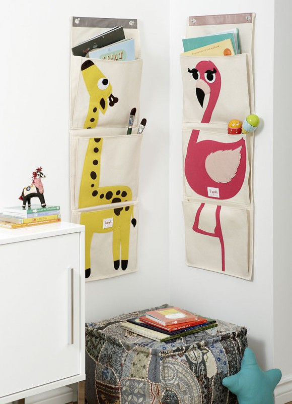 aufbewahrung im kinderzimmer mit wand utensilo flamingo von 3 sprouts. Black Bedroom Furniture Sets. Home Design Ideas