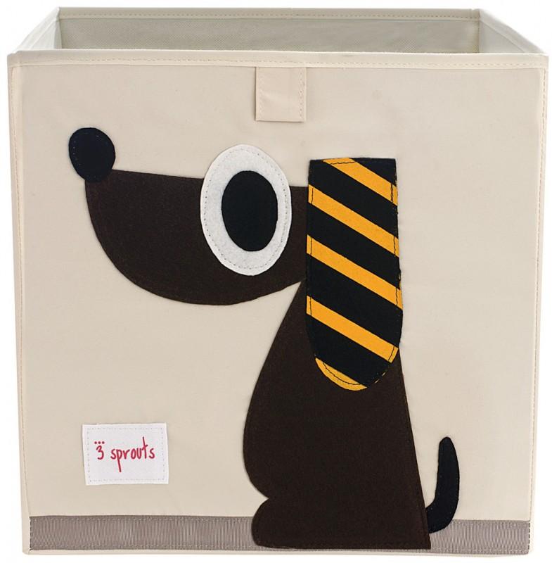 aufbewahrung im kinderzimmer spielzeugbox mit hund 33 x 33x 33 cm von 3 sprouts. Black Bedroom Furniture Sets. Home Design Ideas