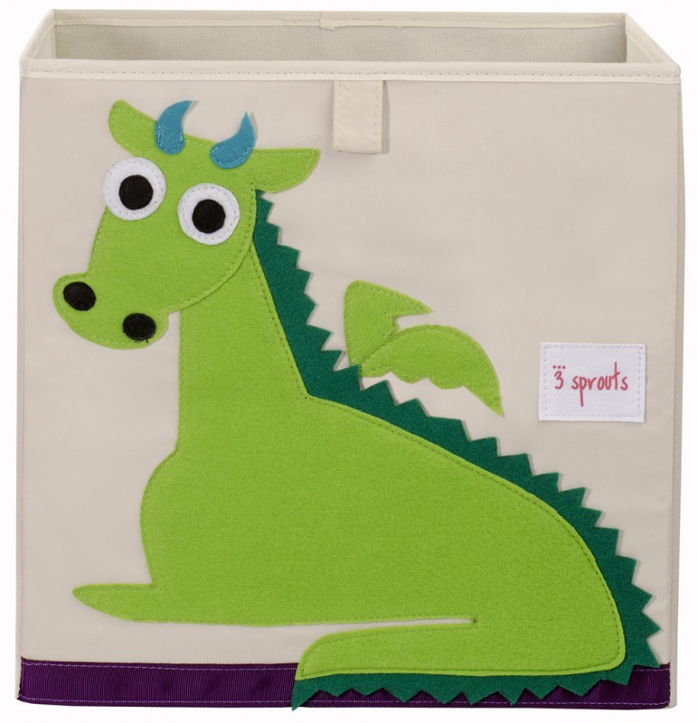 aufbewahrung im kinderzimmer spielzeugbox gr ner drache 33 x 33x 33 cm von 3 sprouts. Black Bedroom Furniture Sets. Home Design Ideas