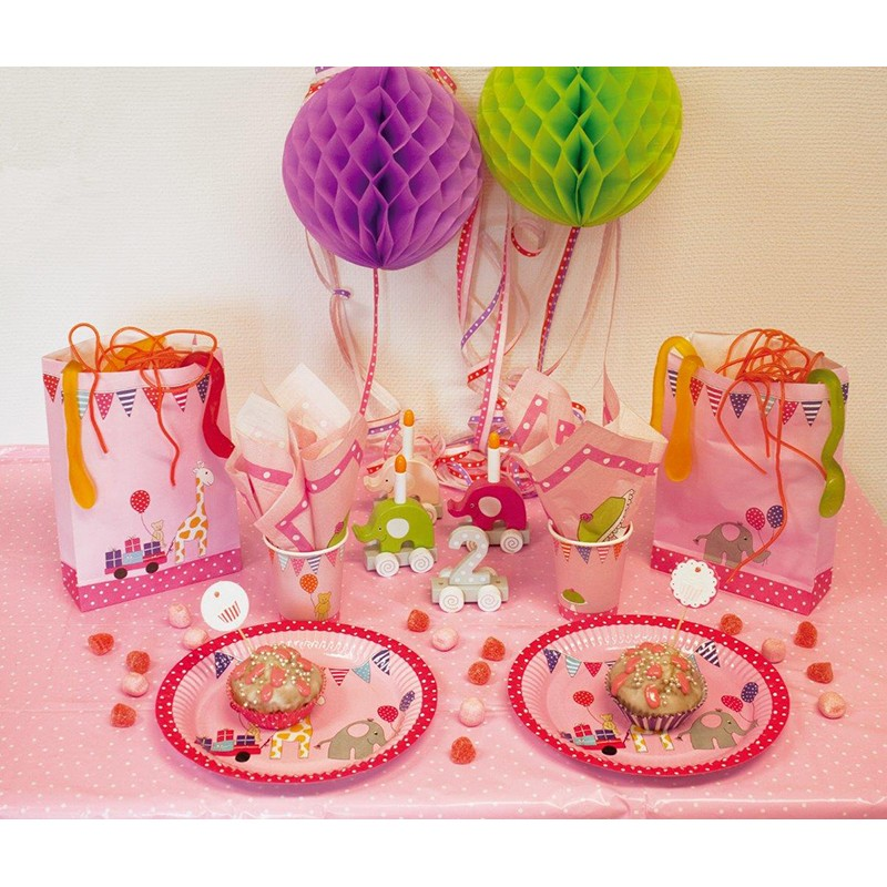 Party pappteller set rosa mit tieren 8 st ck von for Rosa pappteller