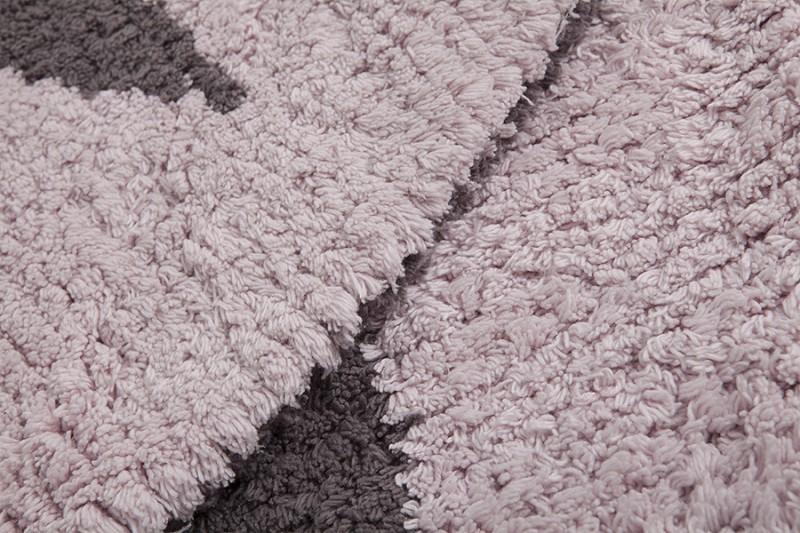 kinderteppich rund mit stern grau rosa zum wenden durchmesser 140 cm 100 baumwolle von. Black Bedroom Furniture Sets. Home Design Ideas