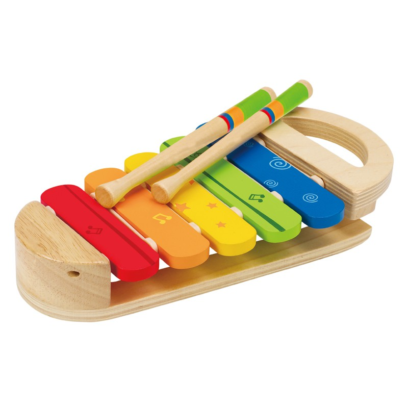Puppenwagen Holz Ab 12 Monate ~   , kunterbuntes Regenbogen Xylophon, aus Holz, ab 12 Monate, von Hape